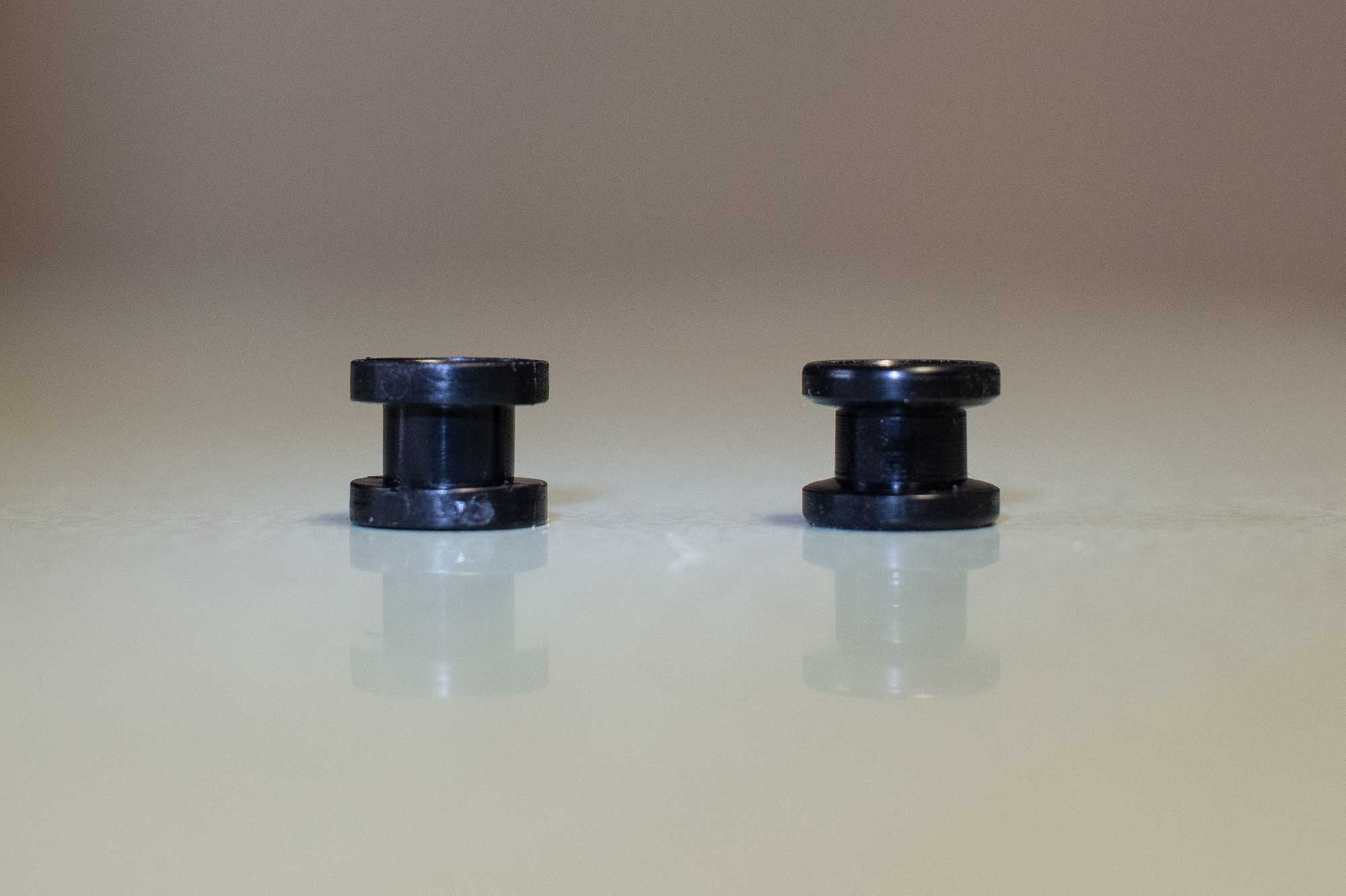 Molded rail guide on the left, machiened rail guide on the right